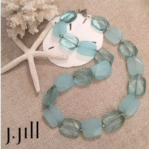 J. Jill Aqua Blue Clear Frosted Stone Necklace